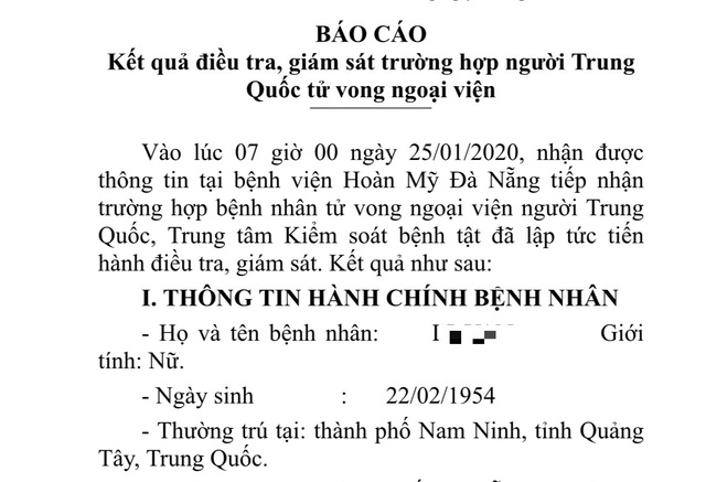 Đà Nẵng điều tra một trường hợp người Trung Quốc tử vong ngoại viện - 1