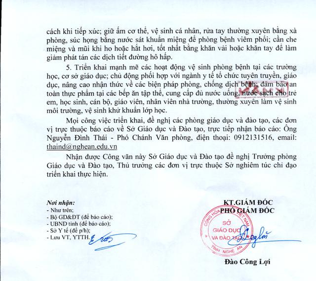 Sở GDĐT Nghệ An ra công văn khẩn về phòng, chống virus Corona trong các trường học - 2