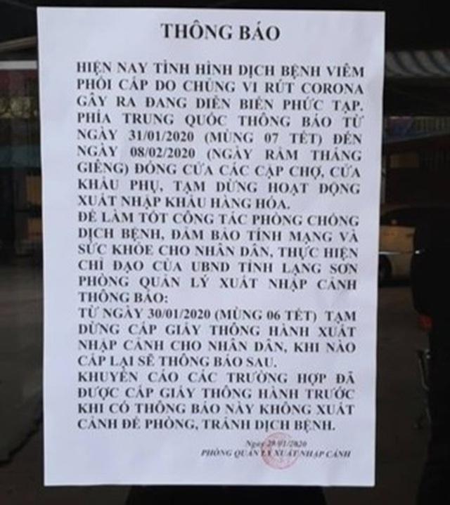 Lạng Sơn tạm dừng cấp giấy thông hành sang Trung Quốc vì đại dịch Corona - 1