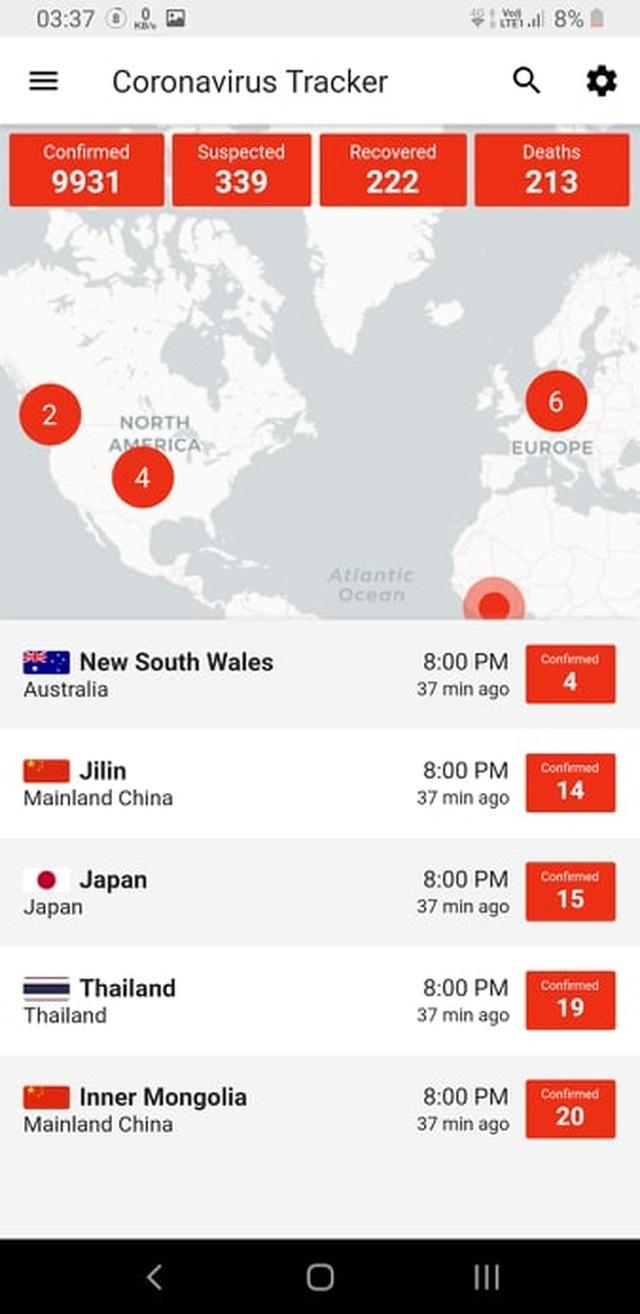 Ứng dụng di động giúp theo dõi tình trạng lây nhiễm của virus Vũ Hán trên toàn cầu - 2