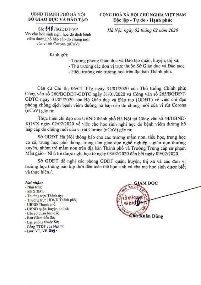 Hà Nội quyết định cho học sinh nghỉ tới 9/2 để phòng dịch virus corona - 2
