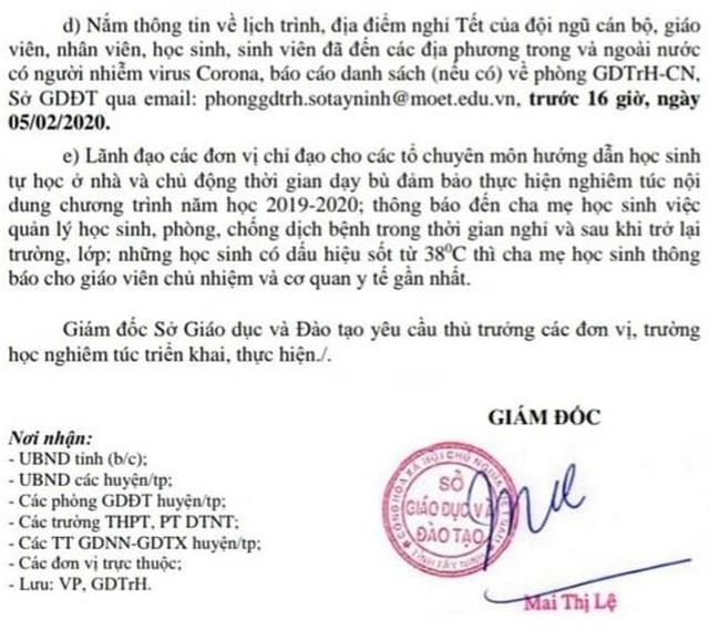 Tây Ninh cho học sinh nghỉ học 1 tuần để phòng chống dịch virus Corona - 2