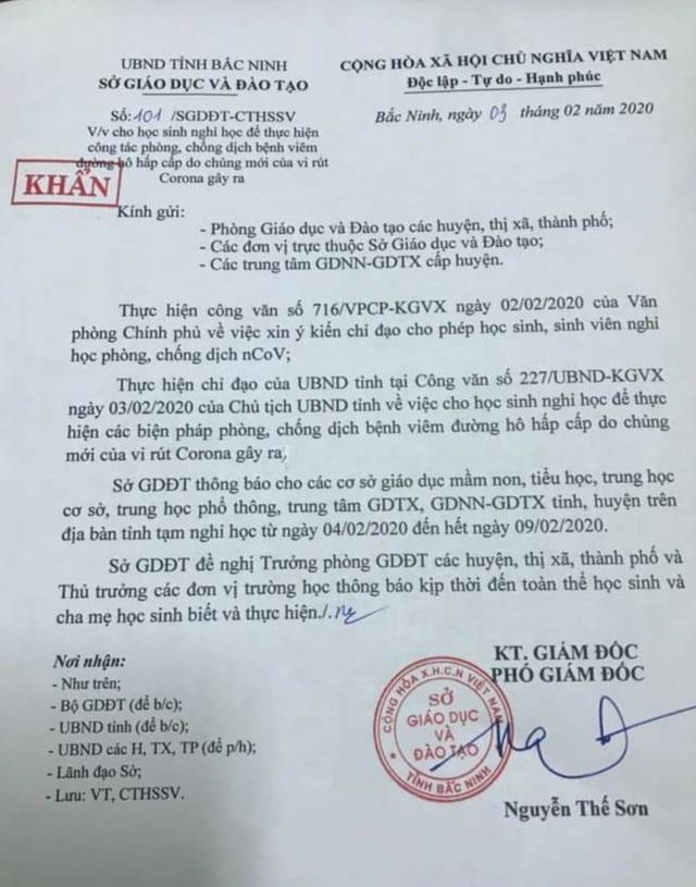 Bắc Ninh gửi công văn khẩn tới các cơ sở giáo dục cho học sinh nghỉ học - 1