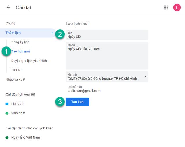 Tạo lịch nhắc các ngày Giỗ, ngày Lễ đầu năm bằng Google Calendar - 3