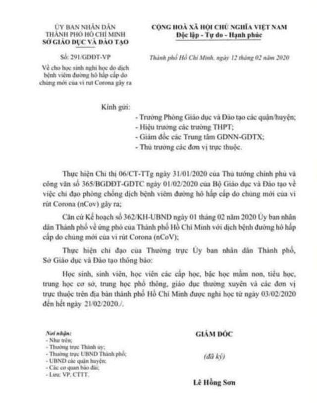 Xuất hiện công văn giả cho học sinh TPHCM nghỉ học đến hết ngày 21/2 - 1