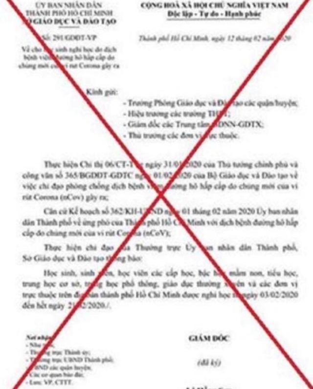 TPHCM: Điều tra vụ mạo danh Sở làm văn bản giả cho học sinh nghỉ học tiếp - 1
