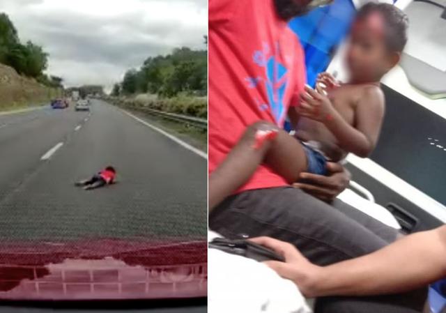 Bé 2 tuổi văng ra khỏi ô tô do va chạm xe trên đường cao tốc - 1