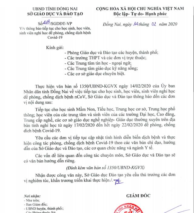 Sau quyết định đi học lại, Đồng Nai thông báo khẩn cho HS nghỉ học đến 22/2 - 1