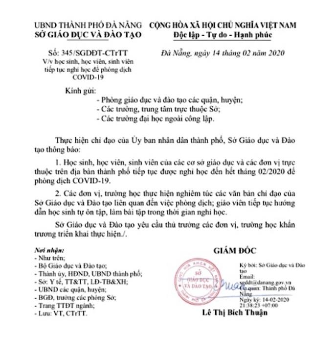 Đà Nẵng chính thức cho học sinh nghỉ học đến hết tháng 2 - 1