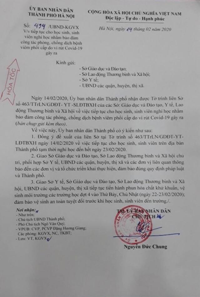 Hà Nội: Khoảng 2 triệu học sinh tiếp tục nghỉ học đến 23/2 - 1