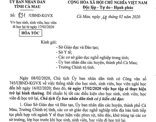 Học sinh Cà Mau đi học trở lại từ ngày 17/2, tạm dừng hoạt động ngoại khóa - 1