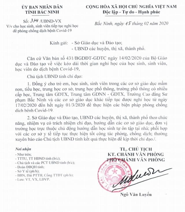 Bắc Ninh cho HS, SV nghỉ học đến hết tháng 2, hướng dẫn HS tự ôn tập - 2