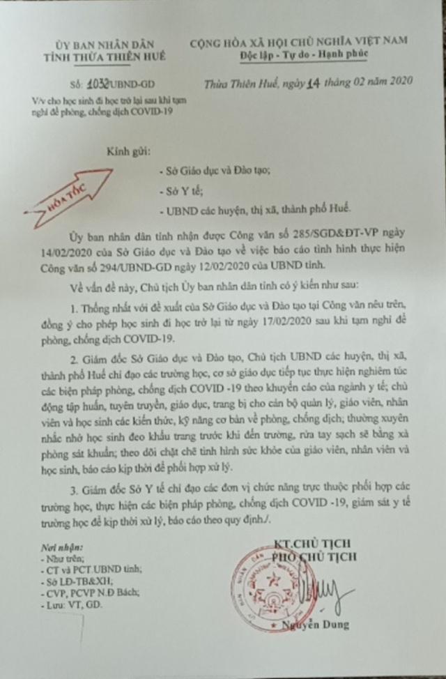 Thừa Thiên Huế: HS nghỉ tiếp đến hết tháng 2, SV nghỉ đến hết 23/2 - 2