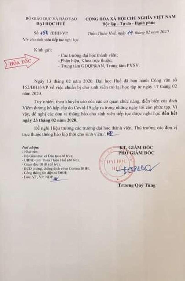 Thừa Thiên Huế: HS nghỉ tiếp đến hết tháng 2, SV nghỉ đến hết 23/2 - 3