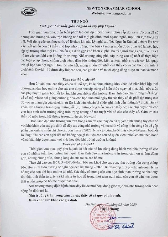 Hà Nội: Trường rút kêu gọi chia sẻ phí dạy online đợt dịch Covid-19 - 1