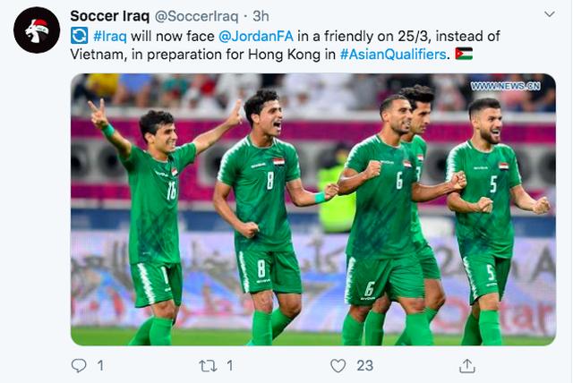 Iraq xác nhận đá giao hữu với Jordan, thay vì đội tuyển Việt Nam - 1