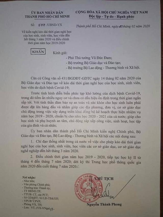 Nóng: TPHCM chính thức kiến nghị Chính phủ cho nghỉ học hết tháng 3 - 1