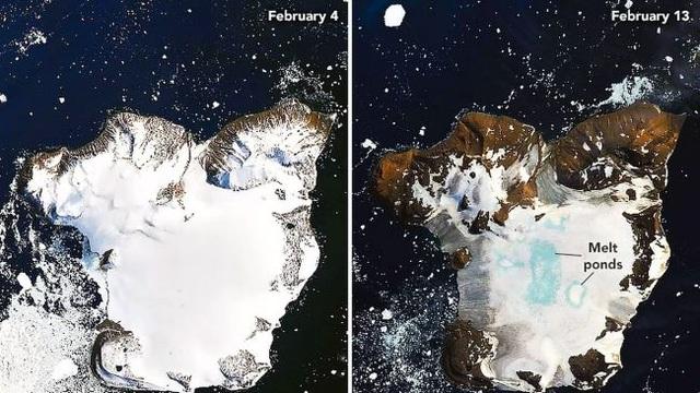 Băng Nam Cực tan chảy trơ trọi mặt đất do nhiệt độ tăng kỷ lục - 1