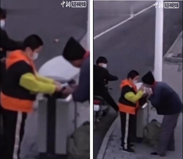 Clip cậu bé tặng khẩu trang cho cụ ông nhặt rác khiến dân mạng cảm động - 1