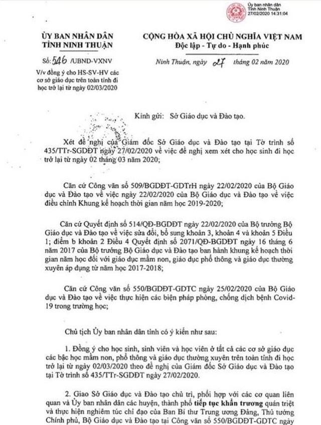 Ninh Thuận đồng ý cho học sinh, sinh viên đi học trở lại từ ngày 2/3 - 1