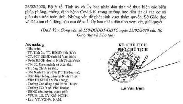 Ninh Thuận đồng ý cho học sinh, sinh viên đi học trở lại từ ngày 2/3 - 2