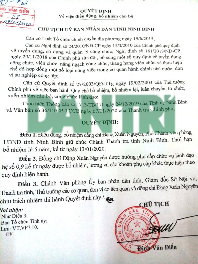 Chánh Thanh tra Ninh Bình được bổ nhiệm khi chưa là Thanh tra viên chính - 2