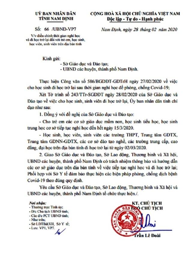 Hà Nam, Nam Định: Học sinh từ Mầm non đến THCS nghỉ học đến hết ngày 15/3 - 2