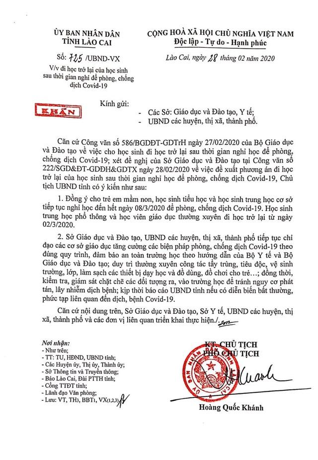 Lào Cai: Cho học sinh THPT và GDTX đi học trở lại từ 2/3 - 1