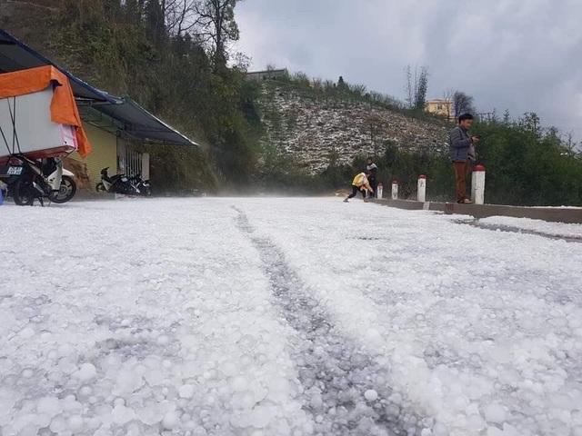 Mưa đá bất ngờ phủ trắng đường, sườn đồi ở Lai Châu - 3