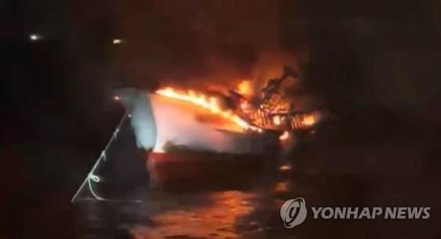 Cháy tàu cá 29 tấn ở Hàn Quốc, 5 thủy thủ người Việt mất tích - 1
