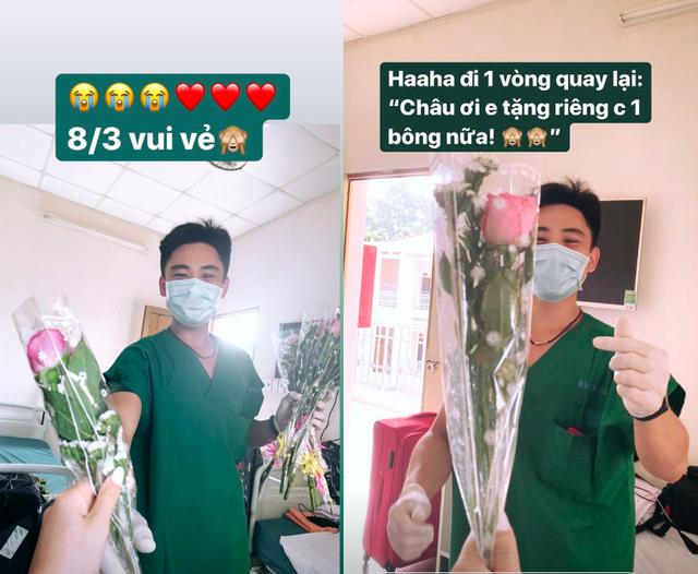 Châu Bùi xúc động vì được nhân viên y tế tặng hoa 8/3 trong khu cách ly - 1