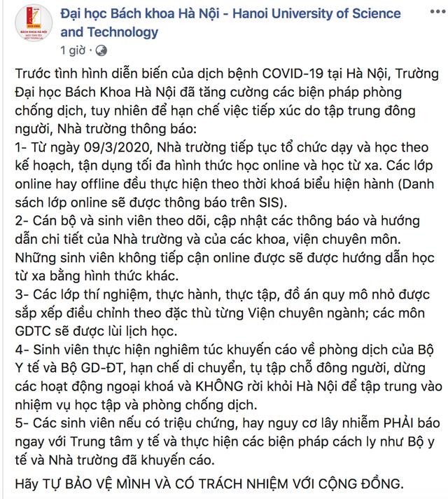 ĐH Bách khoa HN yêu cầu sinh viên không rời Hà Nội, tập trung học online - 2