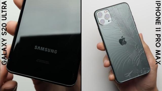 Đọ độ bền Galaxy S20 Ultra và iPhone 11 Pro Max khi thả rơi tự do - 1