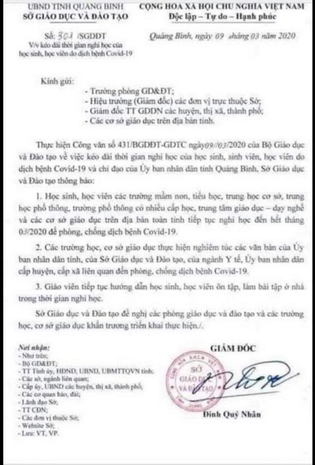 Giả mạo công văn Sở GDĐT Quảng Bình cho học sinh nghỉ hết tháng 3 - 1