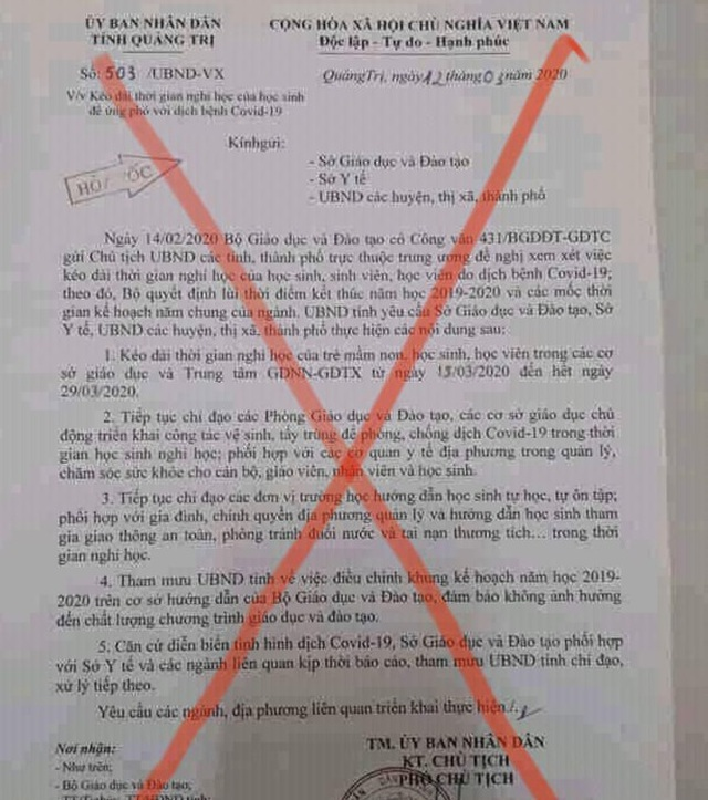 Giả mạo văn bản của UBND tỉnh Quảng Trị cho học sinh nghỉ học hết ngày 29/3 - 1