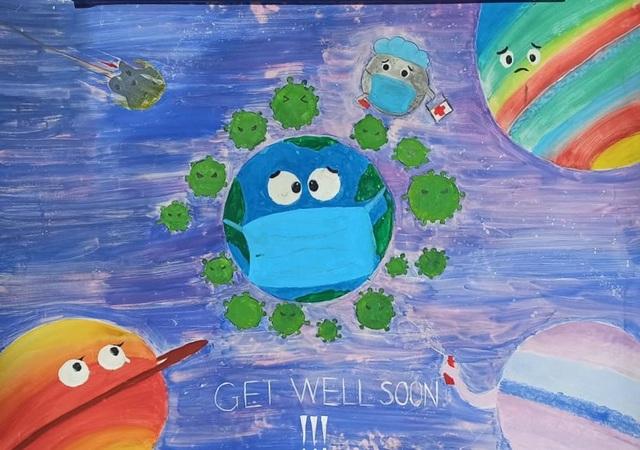 Học sinh trường chuyên vẽ tranh tuyên truyền phòng chống dịch Covid-19 - 7