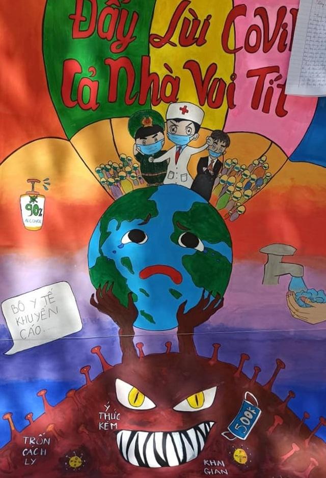 Học sinh trường chuyên vẽ tranh tuyên truyền phòng chống dịch Covid-19 - 9