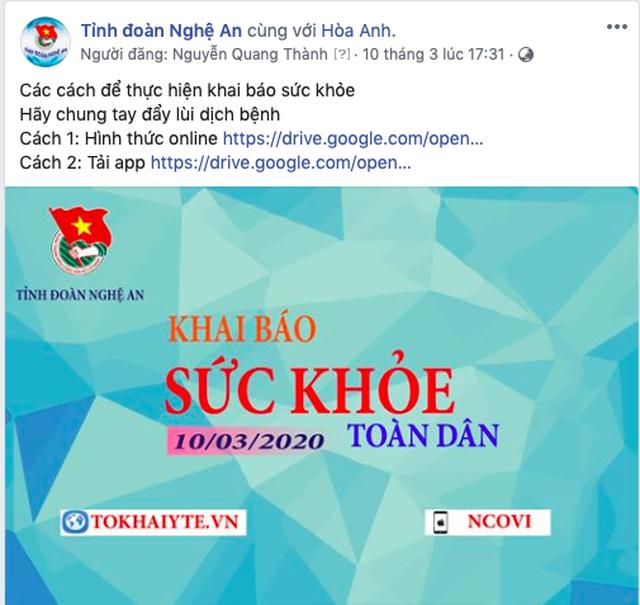 Nghệ An: Đoàn viên thanh niên gõ cửa từng nhà tuyên truyền khai báo y tế - 1