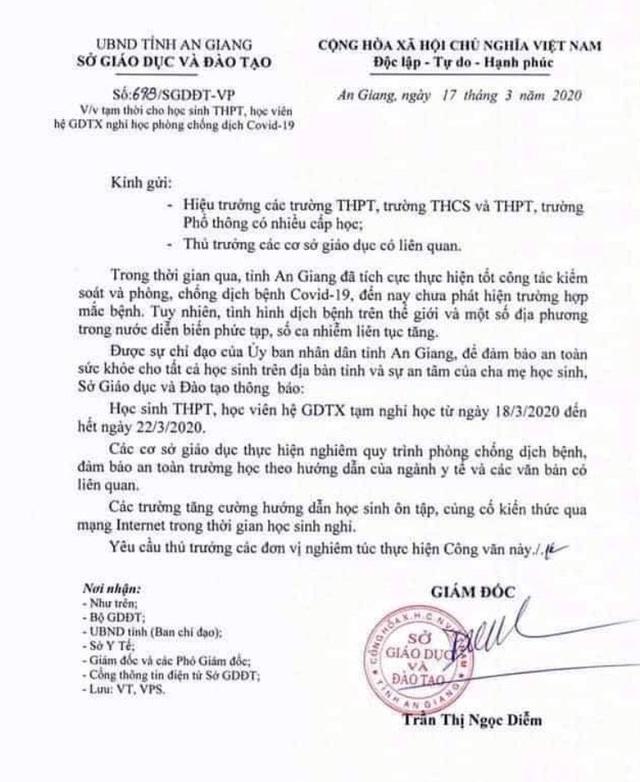 An Giang hỏa tốc cho học sinh THPT nghỉ học đến hết ngày 22/3 - 1
