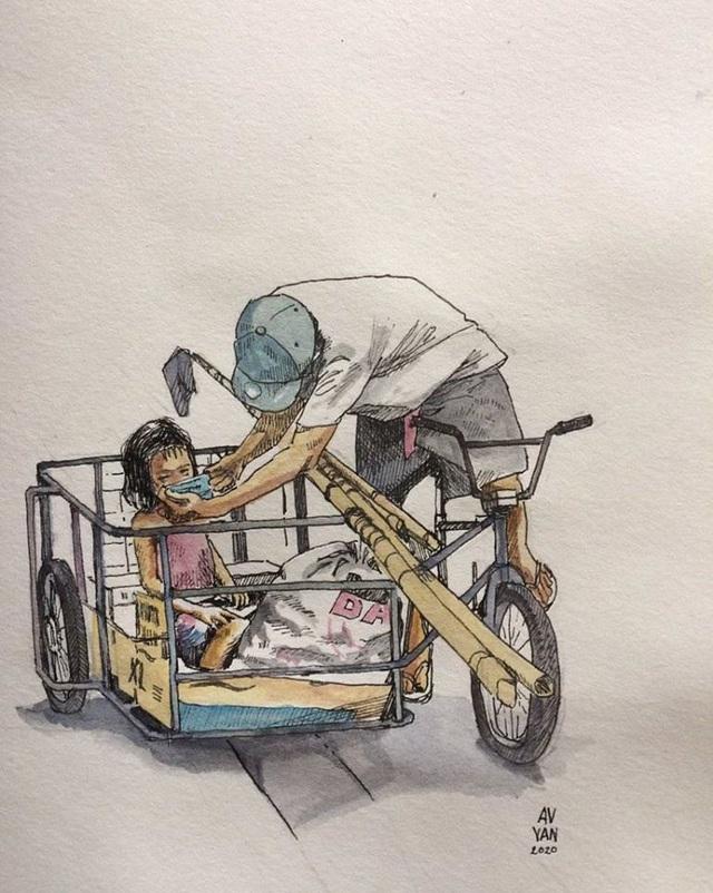 Hình ảnh cha nghèo nhường khẩu trang cho con gái khiến dân mạng cảm động - 2