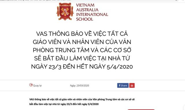 Hai giáo viên mắc Covid-19, Trường Việt Úc cho nhân viên làm việc tại nhà - 2