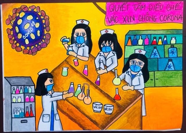 Dịch Covid-19 diễn biến phức tạp, học sinh vẽ ước mơ lên tranh - 4