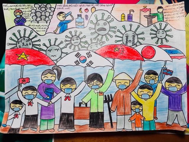Dịch Covid-19 diễn biến phức tạp, học sinh vẽ ước mơ lên tranh - 1