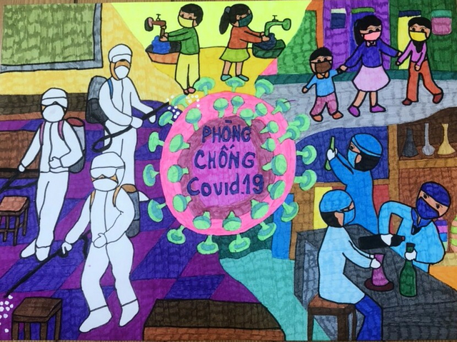 Dịch Covid-19 diễn biến phức tạp, học sinh vẽ ước mơ lên tranh - 8