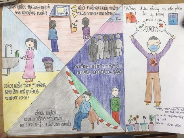 Dịch Covid-19 diễn biến phức tạp, học sinh vẽ ước mơ lên tranh - 6