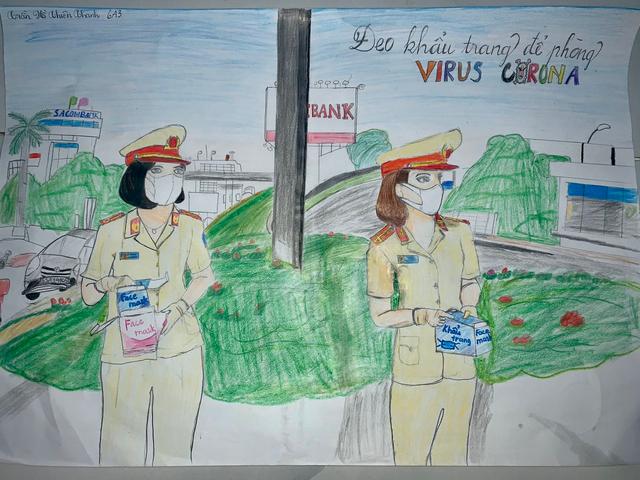 Dịch Covid-19 diễn biến phức tạp, học sinh vẽ ước mơ lên tranh - 7