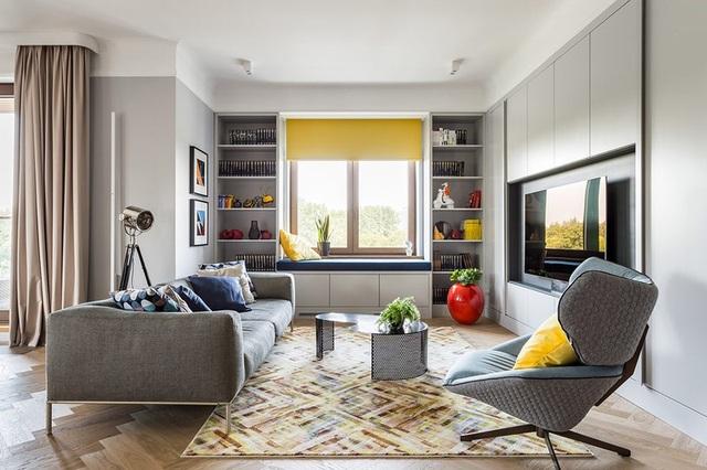 Ngôi nhà trang trí nội thất màu xanh và vàng lạ mắt - 1