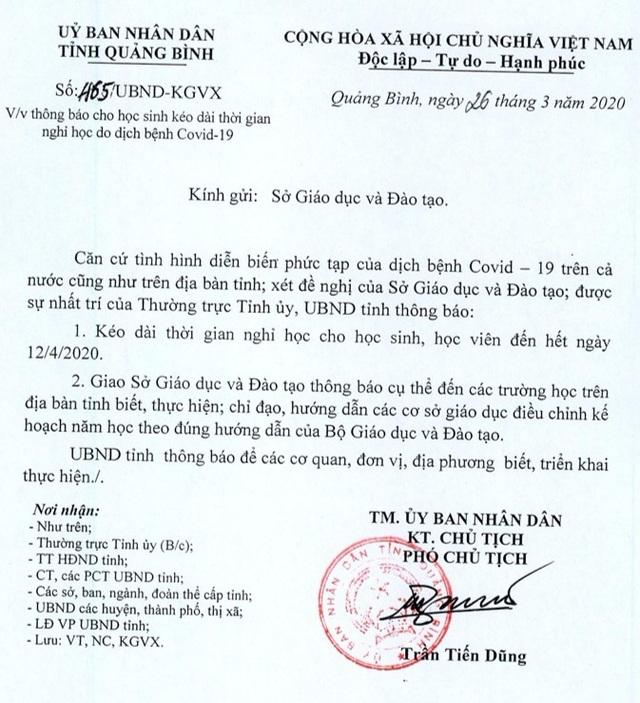 Quảng Bình cho toàn bộ học sinh nghỉ đến hết ngày 12/4 để phòng Covid-19 - 1