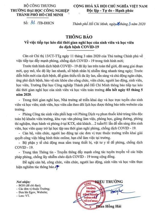 Thêm 1 trường tại TPHCM cho sinh viên nghỉ đến tháng 5 tránh dịch Covid-19 - 2