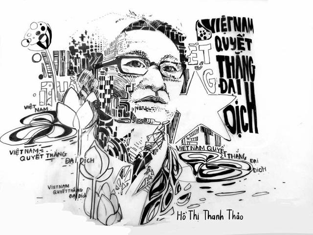 Sinh viên mỹ thuật đồ họa vẽ tranh người hùng Phó Thủ tướng Vũ Đức Đam - 1